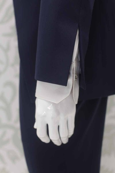 Navy blue fashion wedding suit jacket 100% made in Italy by Cleofe Finati