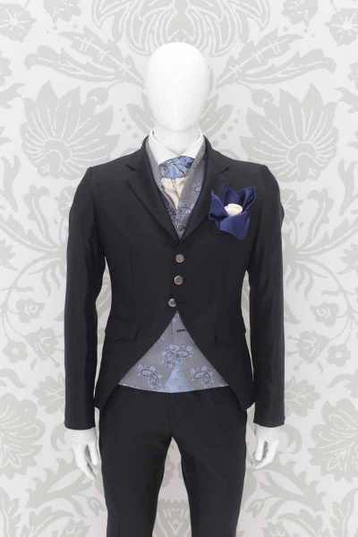 Fashion black wedding suit jacket 100% made in Italy by Cleofe Finati