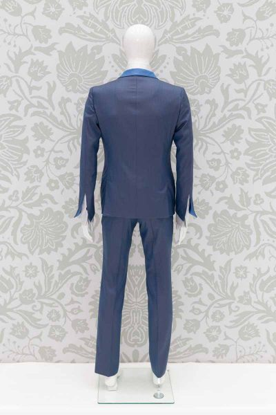Sky blue single-breasted wedding suit jacket 100% made in Italy by Cleofe Finati