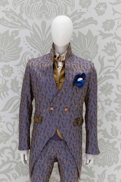 Luxury man glamour blue gold 100% made in Italy by Cleofe Finati
