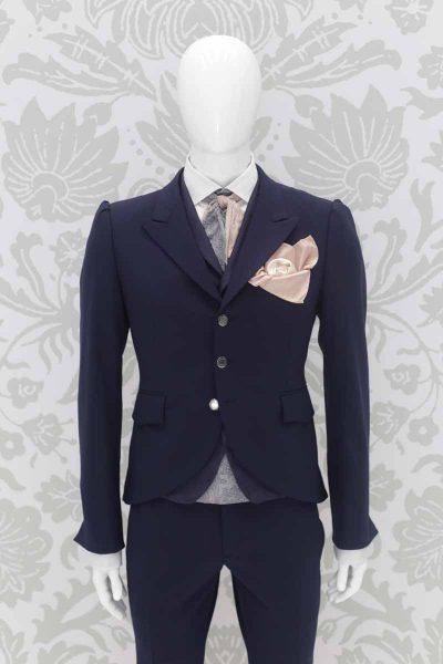 Giacca abito da sposo fashion blu lampo made in Italy 100% by Cleofe Finati