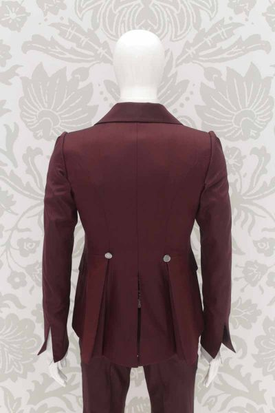 Fashion burgundy wedding suit jacket 100% made in Italy by Cleofe Finati