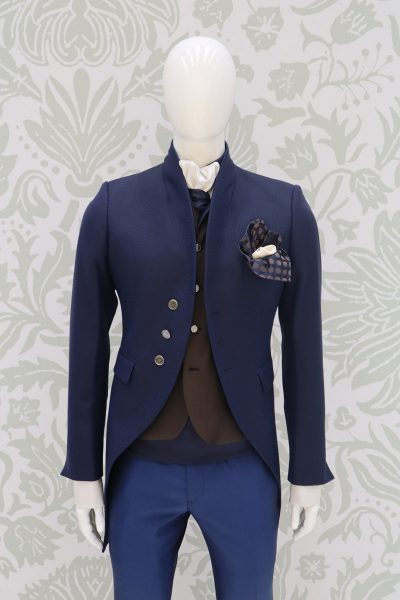 Giacca abito da sposo classico blu lampo made in Italy 100% by Cleofe Finati