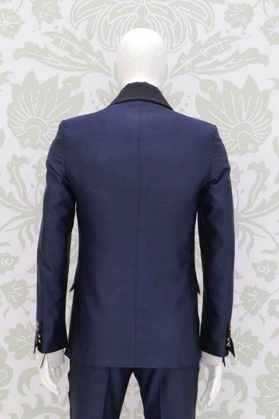 Giacca smoking abito da uomo glamour lusso blu e nero made in Italy 100% by Cleofe Finati