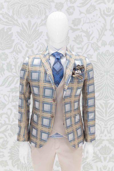 Giacca abito da uomo glamour tartan oro e havana made in Italy 100% by Cleofe Finati
