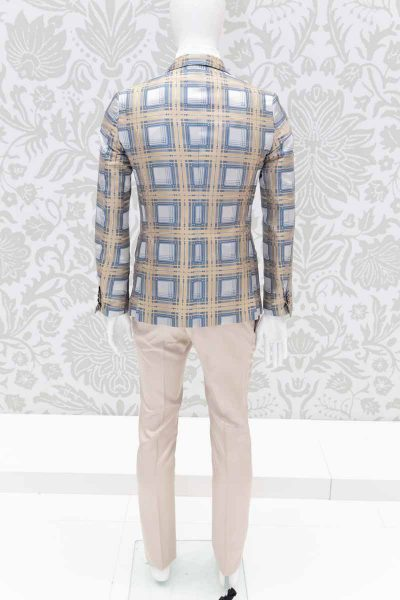 Glamour men's suit jacket tartan gold and havana 100% made in Italy by Cleofe Finati