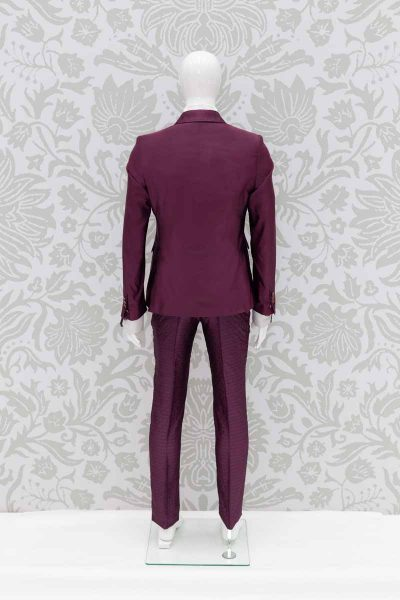 Men's suit jacket glamour luxury red burgundy maroon 100% made in Italy by Cleofe Finati