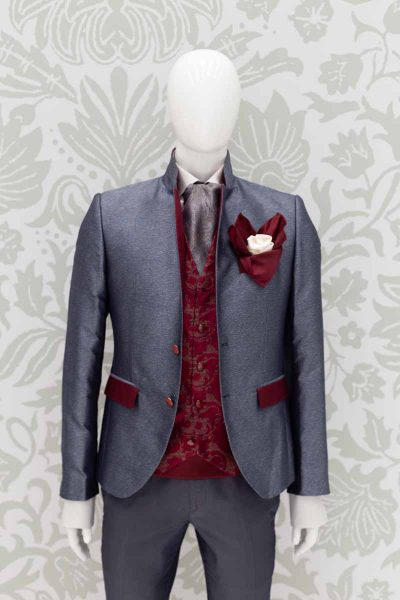 Men's suit glamour luxury lead and red 100% made in Italy by Cleofe Finati