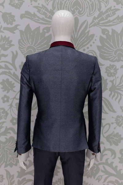 Men's suit jacket glamour luxury lead and red 100% made in Italy by Cleofe Finati