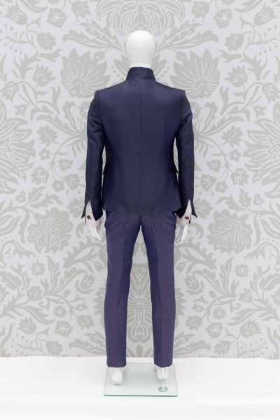 Navy blue luxury men's suit jacket 100% made in Italy by Cleofe Finati