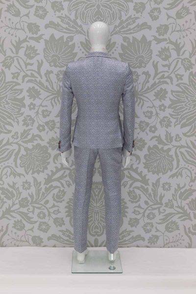 Glamorous luxury white blue men's suit jacket 100% made in Italy by Cleofe Finati