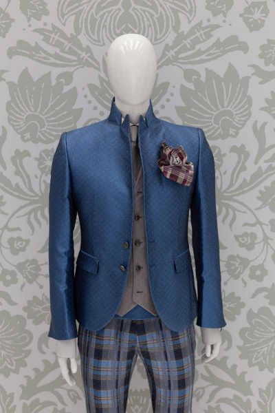 Glamorous luxury men's suit jacket in light blue and blue 100% made in Italy by Cleofe Finati