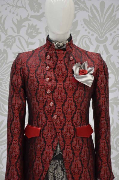 Glamour luxury black ruby red ecru men's suit jacket 100% made in Italy by Cleofe Finati