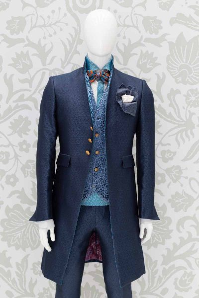 Giacca abito da uomo glamour lusso blu navy made in Italy 100% by Cleofe Finati