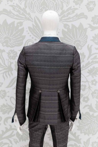 Glamorous men's luxury blue black suit jacket 100% made in Italy by Cleofe Finati