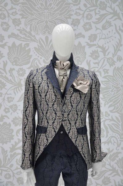 Glamour luxury men's suit jacket midnight blue ecru 100% made in Italy by Cleofe Finati