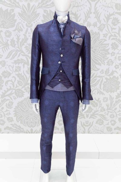 Glamorous cobalt blue men's suit jacket 100% made in Italy by Cleofe Finati