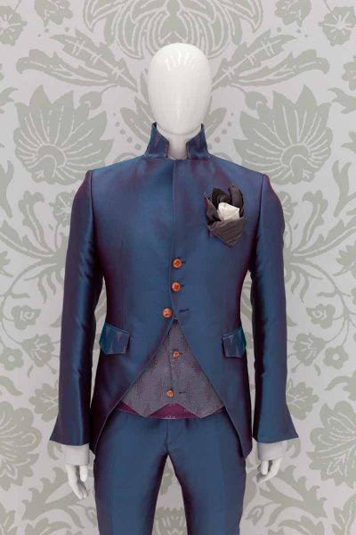 Burgundy blue glamour luxury men's suit jacket 100% made in Italy by Cleofe Finati