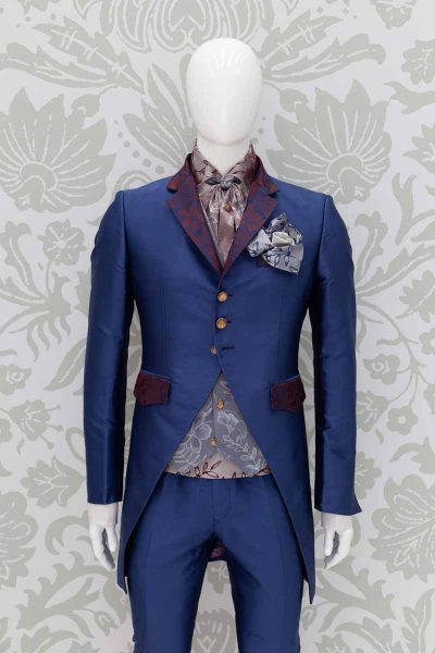 Glamorous luxury blue men's suit jacket 100% made in Italy by Cleofe Finati