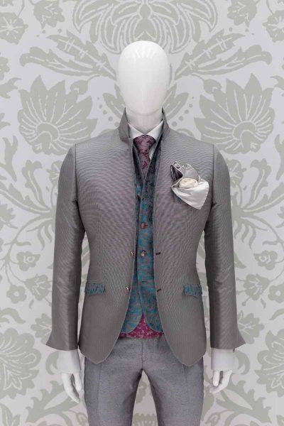 Giacca abito da uomo glamour grigio in micro Pied de Poule made in Italy 100% by Cleofe Finati