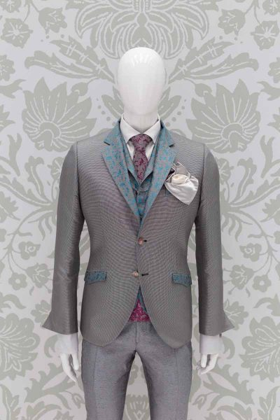Glamorous men's suit jacket grey in micro hound's tooth 100% made in Italy by Cleofe Finati
