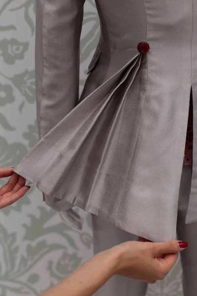 Glamorous luxury men's suit jacket ice grey 100% made in Italy by Cleofe Finati
