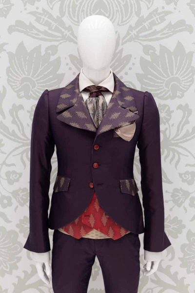 Glamorous luxury blue and red men's suit jacket 100% made in Italy by Cleofe Finati