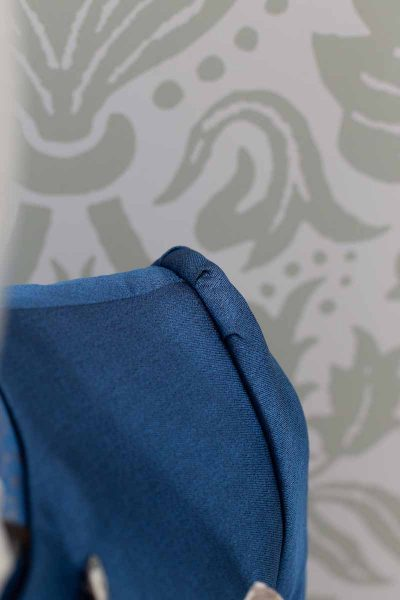 Glamorous luxury men's suit jacket azure blue 100% made in Italy by Cleofe Finati