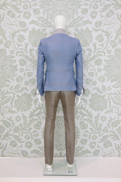 Giacca abito da uomo glamour lusso bianco azzurro made in Italy 100% by Cleofe Finati
