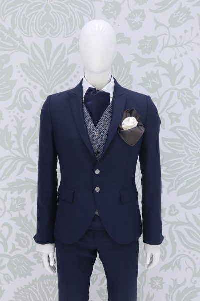 Fashion lightning blue wedding suit jacket 100% made in Italy        by Cleofe Finati