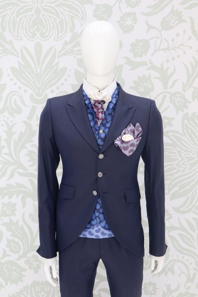 Giacca abito da sposo fashion blu navy made in Italy 100% by Cleofe Finati