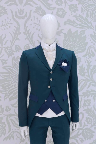 Sky blue fashion wedding suit jacket 100% made in Italy by Cleofe Finati