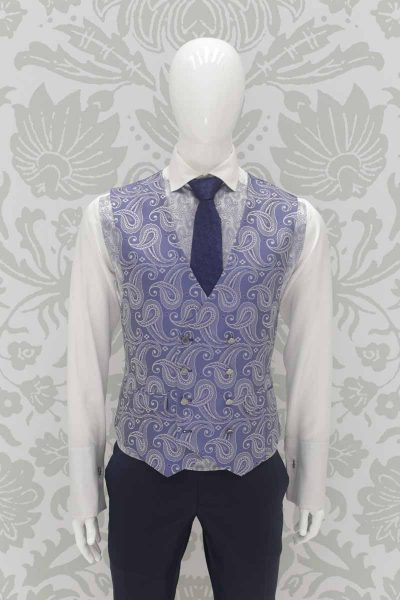 Waistcoat vest cerulean classic wedding suit navy blue 100%-made-in-Italy by Cleofe Finati