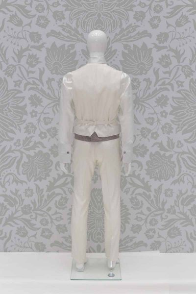 Waistcoat vest pearl grey and anthracite fashion wedding suit cream 100% made in Italy by Cleofe Finati