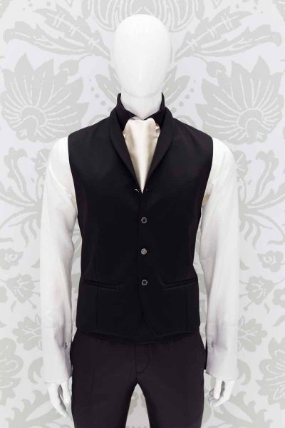 Panciotto gilet gilè nero abito da sposo fashion nero made in Italy 100% by Cleofe Finati