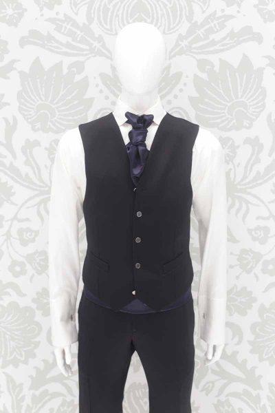 Panciotto gilet gilè nero abito da sposo classico linea marsina in broccato nero made in Italy 100% by Cleofe Finati
