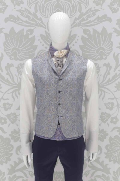 Classic dusty serenity blue wedding suit 100% made in Italy by Cleofe Finati