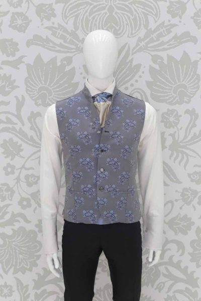 Waistcoat vest light blue fashion wedding suit black 100% made in Italy by Cleofe Finati