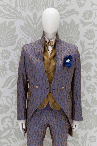 Waistcoat glamour men's suit blue gold 100% made in Italy by Cleofe Finati