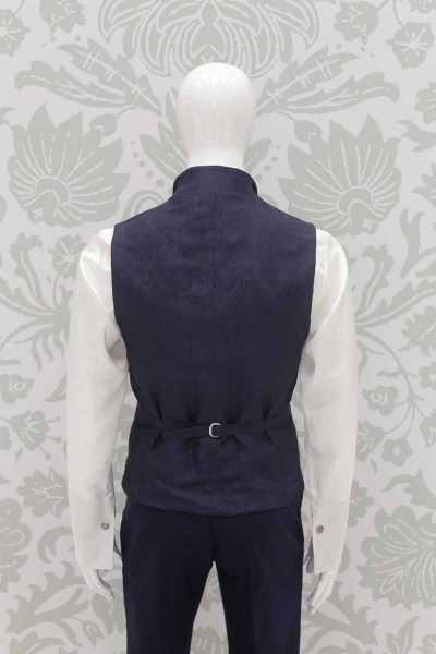 Waistcoat vest midnight blue fashion wedding suit lightning blue 100% made in Italy         by Cleofe Finati