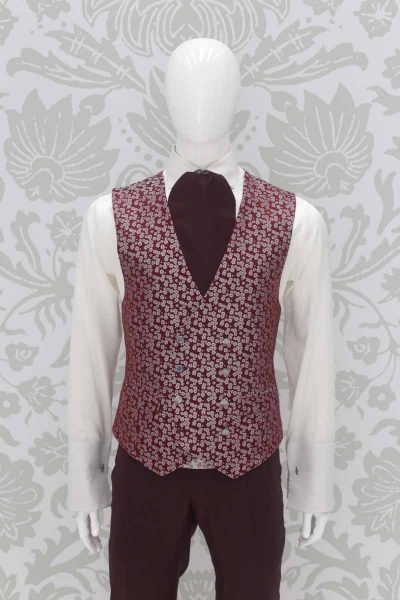 Panciotto gilet gilè bordeaux abito da sposo fashion bordeaux made in Italy 100% by Cleofe Finati