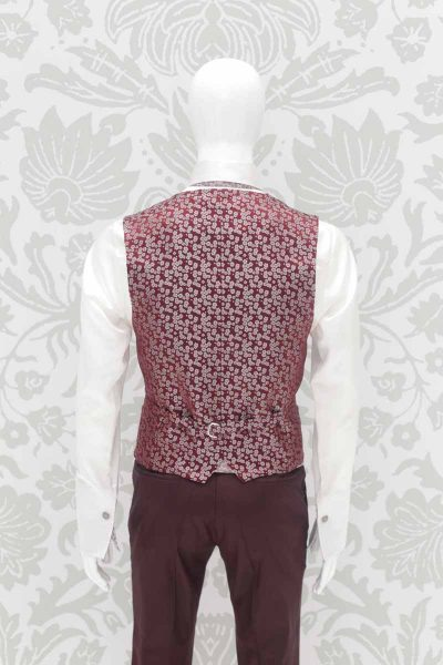 Waistcoat vest burgundy fashion wedding suit 100% made in Italy         by Cleofe Finati