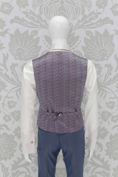 Waistcoat vest metal light blue fashion wedding suit serenity blue 100% made in Italy by Cleofe Finati