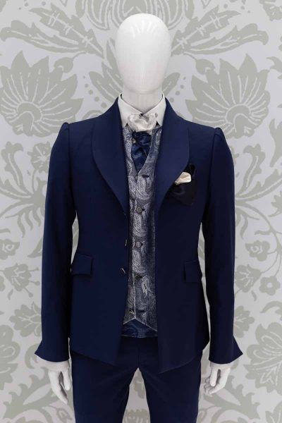 Waistcoat vest blue silver fashion wedding suit lightning blue 100% made in Italy         by Cleofe Finati