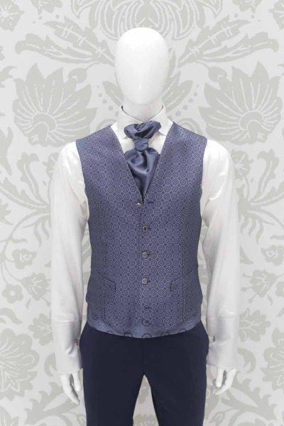 Panciotto gilet gilè blu metallo abito da sposo classico blu notte made in Italy 100% by Cleofe Finati