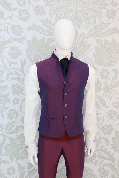 Panciotto gilet gilè abito da uomo glamour bordeaux blu made in Italy 100% by Cleofe Finati