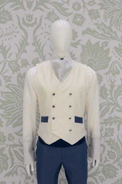 Panciotto gilet gilè azzurro metallo abito da sposo fashion azzurro serenity made in Italy 100% by Cleofe Finati