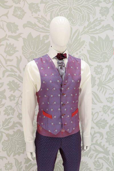 Panciotto gilet gilè abito da uomo glamour rosso blu made in Italy 100% by Cleofe Finati