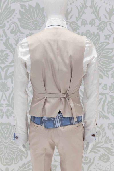 Waistcoat vest glamour men's suit tartan gold havana 100% made in Italy by Cleofe Finati