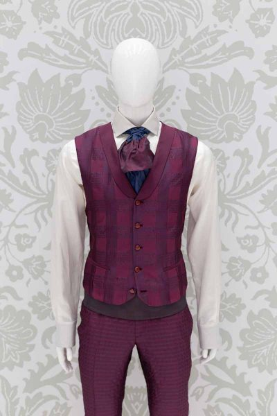 Waistcoat vest glamour suit burgundy red 100% made in Italy by Cleofe Finati